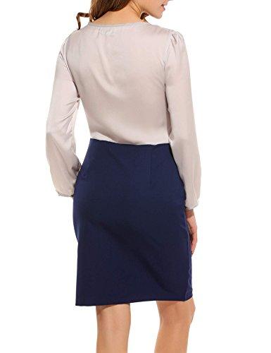 ZEARO Damen Kleid Elegant Hohe Taille Schlank Langarm knielang Kleid mit Bogen Grau