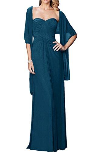 ivyd ressing facile forme de cœur avec boléro Femme A ligne Party robe mousseline Prom Lave-vaisselle robe robe du soir bleu foncé