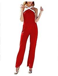 ZhuiKunA Damen Elegant Jumpsuit, Gürtel, Ärmellos, Breit Bein, Overall,  Festlich Clubwear 2030da9726
