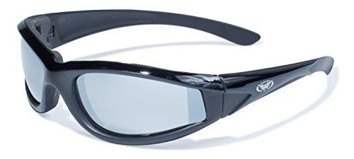 Global Vision Eyewear Hawkeye Serie mit matt schwarz Rahmen und Spiegel Objektive