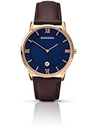 Sekonda Men's Quartz Watch with Blue Dial Analogue Display and Brown Leather Strap 1091.27