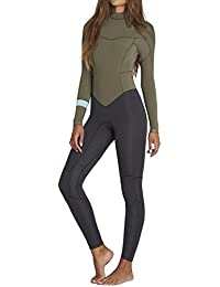 2018 Billabong Ladies Synergy 3/2mm Flatlock Back Zip Wetsuit MOSS H43G12 Sizes- - Ladies 6