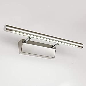 Dailyart 5W LED Spiegelleuchte Spiegellampe Spiegellicht mit Schalter aus Edelstahl 180° einstellbar LED Bad Beleuchtung Schranklampe Wandleuchte IP44 Kaltweiß 6000~7000K [Energieklasse A+]
