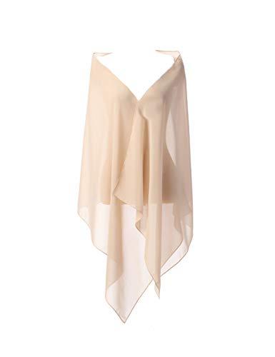 Satin Wrap Kleid (CoCogirls Chiffon Stola Schal für Kleider in verschiedenen Farben zu jedem Brautkleid - Abendkleid, Hochzeit Abend Gala Empfang (One-Size, Champagne 1))