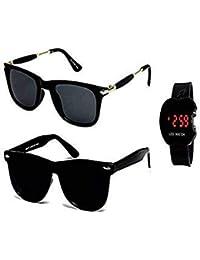 Sheomy Combo of Unisex Sunglasses and LED Digital Black Dial Apple Shape Kids Watch (Black)