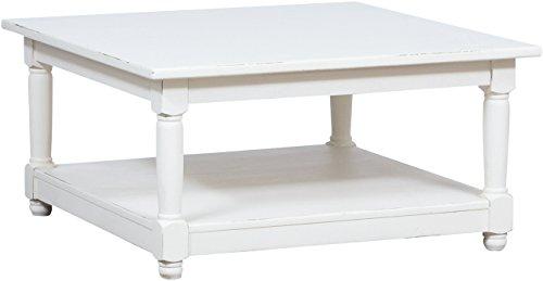 Biscottini Table Basse à fumere Style Rustique en Bois Massif de Tilleul Finition Blanche Antique L90xPR90xH45 cm