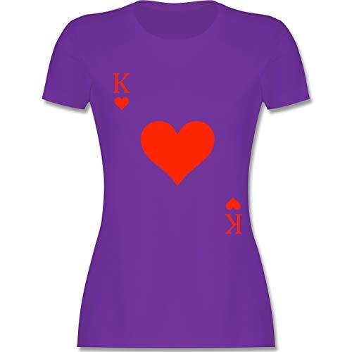 - King Kartenspiel Karneval Kostüm - XL - Lila - L191 - Damen Tshirt und Frauen T-Shirt ()