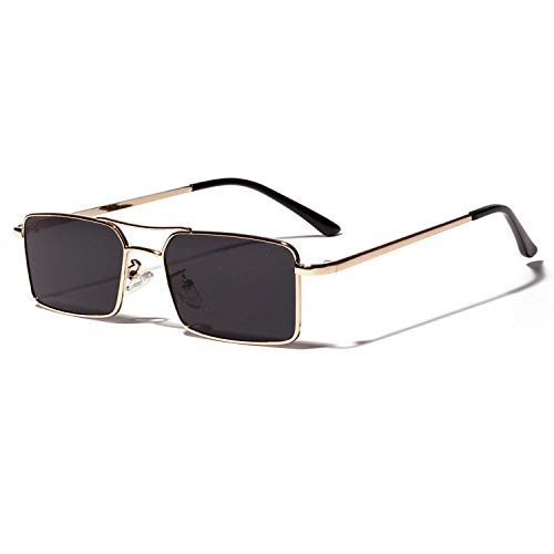 Sport-Sonnenbrillen, Vintage Sonnenbrillen, Gold Rectangular Sunglasses Men NEW Metal Frame Men Retro Small Square Sun Glasses For Women Retro Uv400 Clear Lens as show in photo purple yellow