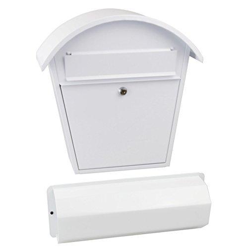 Rottner Stahl-Briefkasten Aosta Set mit großen Fassungsvolumen und Zeitungsbox weiß T03036