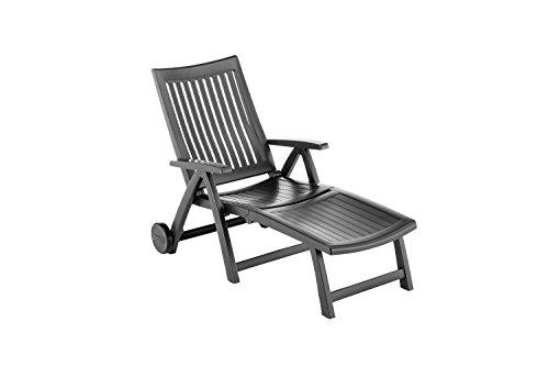 Kettler Roma Advantage Gartenliege – klappbare Sonnenliege für Garten, Terrasse und Balkon – Rückenlehne mehrstufig verstellbar – wetterfeste Rollliege aus beständigem Kunststoff – anthrazit