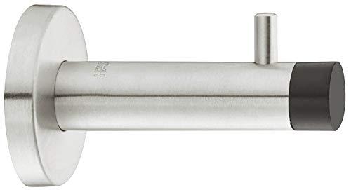 Gedotec Design Wand-Türpuffer Chrom poliert Türstopper mit Garderoben-Haken SMOVI Gummi-Puffer für Wandmontage | Tiefe: 90 mm | 1 Stück - Wand-Puffer mit Kleiderhaken inkl. Befestigungsmaterial