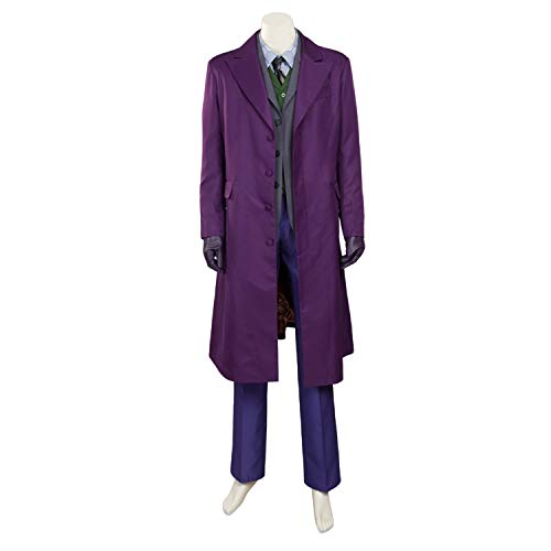 QWEASZER Batman Joker Cosplay Kostüm Herren Super Bösewicht Kostüm Handschuhe, Windbreaker, Westen, Anzüge, Hemden, Hosen Halloween Kostüm Requisiten Deluxe Edition,Purple-XL