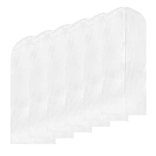 Ankua Kleidersack 6 Stücke 60 x 135cm, Staubschutz Atmungsaktivem Leichtes Gewicht Wasserdicht mit Reißverschluss für Anzug Kleider Kleidung Stauraum und - Kostüm Reißverschluss Stecken