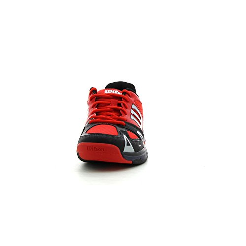 Wilson RUSH PRO JUNIOR, Chaussures de Tennis mixte enfant Red / Black / Coal