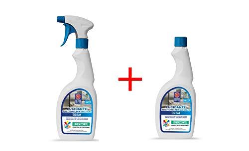 Eisi san - detergente per acciaio inox professionale lucidante, pulitore, sanificante - 2 flaconi da 750 ml