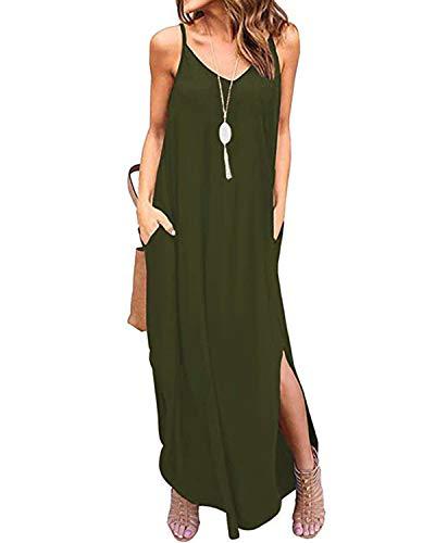 Kidsform Femme Robe d'été Longue Boho Sexy sans Manches Floral Chic Maxi Robe de Plage Fluide à Bretelle Rode de Soirée Fendue Cocktail Casual Vert armée 38 EU (Fabricant: Taille M)