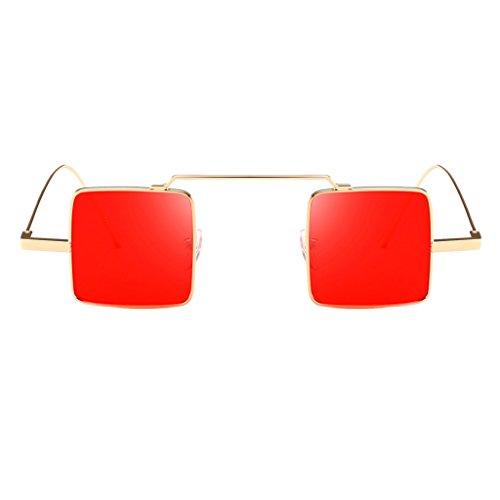 P Prettyia Klassische Retro Metallbrücken quadratische Form Verspiegelt Sonnenbrille für Herren und Damen - Goldrahmen Rote Linse