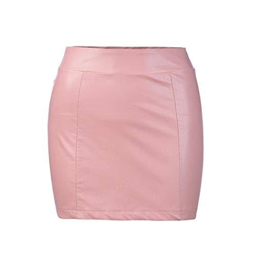 ESAILQ Femmes Sexy Bandage Cuir Taille Haute Crayon Bodycon Hip Short Mini Jupe