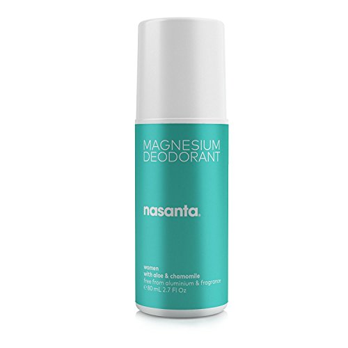 nasanta Magnesium Deodorant Women - Australian Made Natural Deodorant, 100{a7fcf565cded210536502020a4b199f17b55727bf275688cf2a82836a3523432} Free of ALL Forms of Aluminum, 100{a7fcf565cded210536502020a4b199f17b55727bf275688cf2a82836a3523432} Unscented, 80 mL 2.7 Fl Oz Roll On by nasanta
