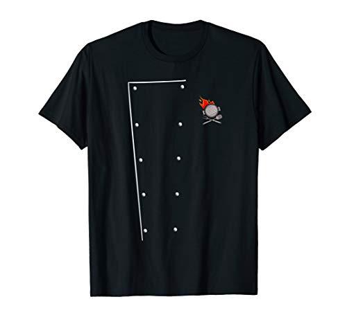 Chefkoch Kochjacke Flamme Pfanne Kochbesteck BBQ Grill T-Shirt