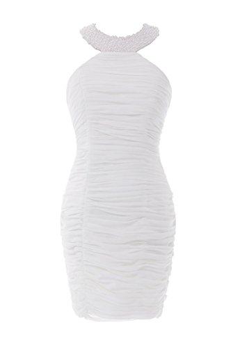 YiYaDawn Kurzes Ballkleid Partykleid Etuikleid für Damen Weiß