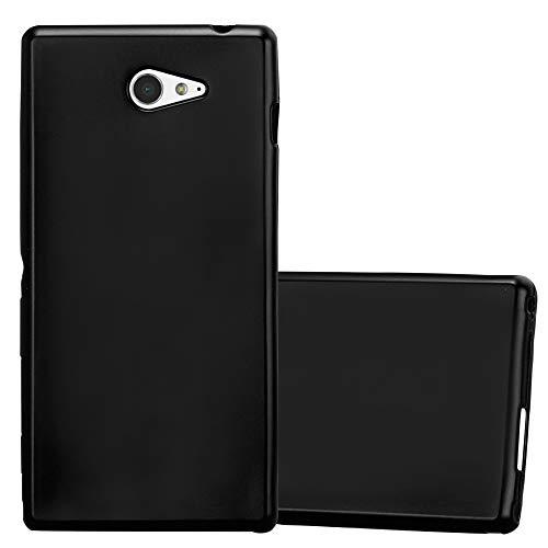 Cadorabo Hülle für Sony Xperia M2 - Hülle in METALLIC SCHWARZ – Handyhülle aus TPU Silikon im Matt Metallic Design - Silikonhülle Schutzhülle Ultra Slim Soft Back Cover Case Bumper