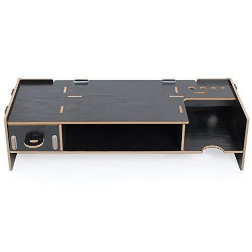 Soporte de Mesa para Monitor Organizador de Madera con Dos Pisos Ideal para Desktop Monitor LCD TV Laptop Ordenador Portátil Screen- Marrón