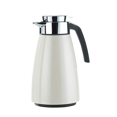 Trinkflaschen Thermoskannen, Haushaltsglas Liner Teekanne Große Kapazität Langzeit Isolationsschloss Kaltwasserflasche 1.5L S8 (Farbe : Weiß)