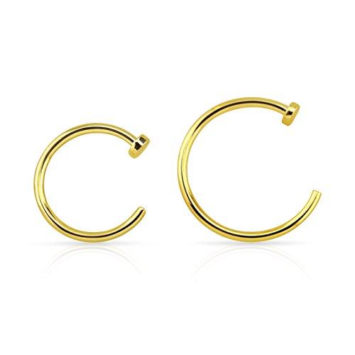 Nase Ring Fake Piercing Hoop 2er Set Nasenpiercing 925 Echt Sterlingsilber 14 Karat Gold 8mm 10mm