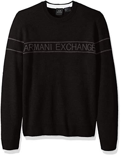 Armani Exchange A|X Herren Band Crewneck Sweater Pullover, schwarz, Mittel Band Crewneck Sweatshirt