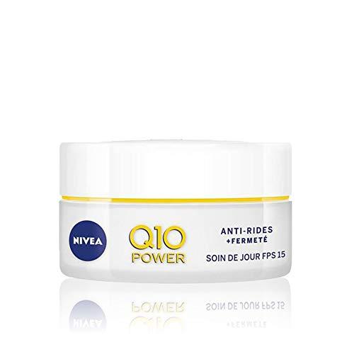 NIVEA Q10 Power Soin de Jour Anti-Rides +Fermeté FPS15 (1x50ml), crème anti-âge enrichie en Q10 & avec 10X plus de créatine, crème hydratante, soin visage femme