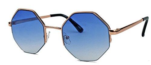 Vintage Octagon Sonnenbrille Damen Herren Hippie Lennon Metall Rahmen LN8 (Blaue Gläser)