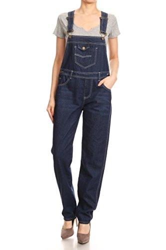 Anna-Kaci Frauen-Denim Blue Jeans Gerades Bein Taschen ()