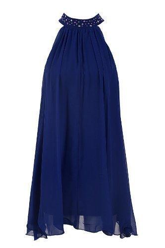 Saphir Femmes Plissé Froncé Mousseline De Soie Attache Dos Émaillé Bande De Col Femmes Évasé Haut Bleu