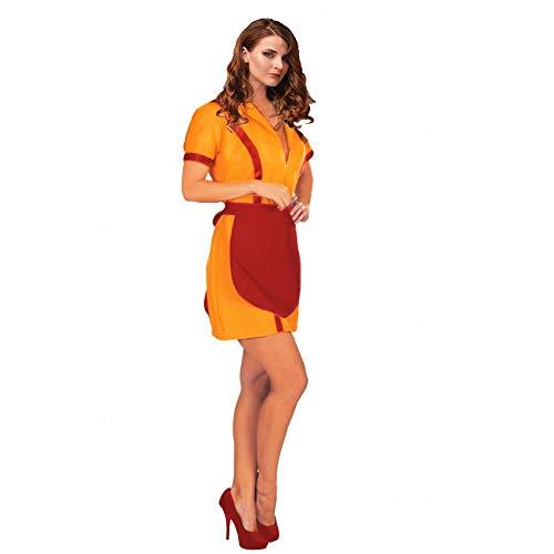 Comedor chica, tamaño XL, naranja vestido con delantal rojo serie de televisión carnaval