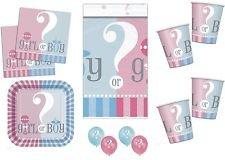 169Geschlecht Reveal Baby Dusche Party Set für 16Personen inkl. Becher/Teller/Servietten/Tisch Cover/Latex Luftballons ()