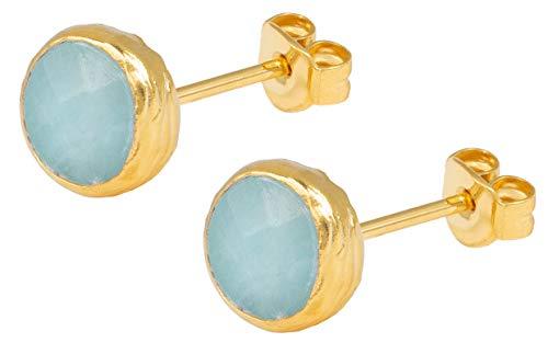 hrringe Gold Plate Aqua Jade - Ohrstecker Runde Platte Silber vergoldet eingefasster Türkiser Edelstein - SAB-E26AQUJADg ()