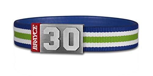 BRAYCE® Trikot am Handgelenk® mit Deiner Nummer 00-99 I Armband blau, weiß & grün -