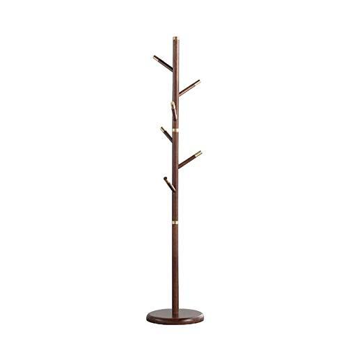 Garderobenständer Duo Wooden Tree Coat Rack, 6 Haken - Stehgarderobe, Flur Kleiderbügel Hutständer, for Handtasche, Kleidung Kleiderständer (Color : 01) - Tree Coat