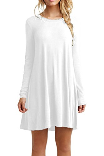 YMING Damen Shirtkleid Casual Tunikakleid Rundhals Longshirt Langarm Loose T-Shirtkleid,Weiß,XS