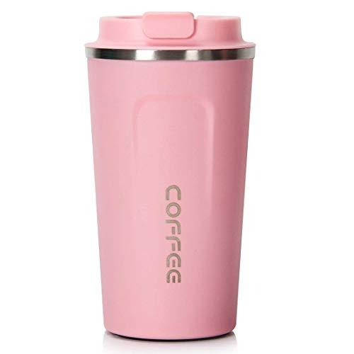 Idebirs Vakuumisolierter Reisebecher, Wiederverwendbare Edelstahl-Kaffeetasse mit Deckel for warme und kalte Getränke, mattschwarze Textur (17 oz) -