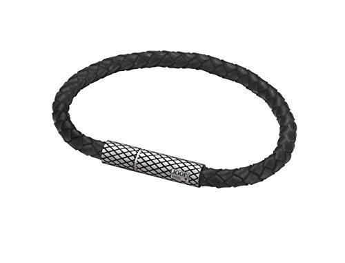 Joop! Herren-Armband JP-M Woven Lederband Edelstahl 21.5 cm-JPBR10659A215
