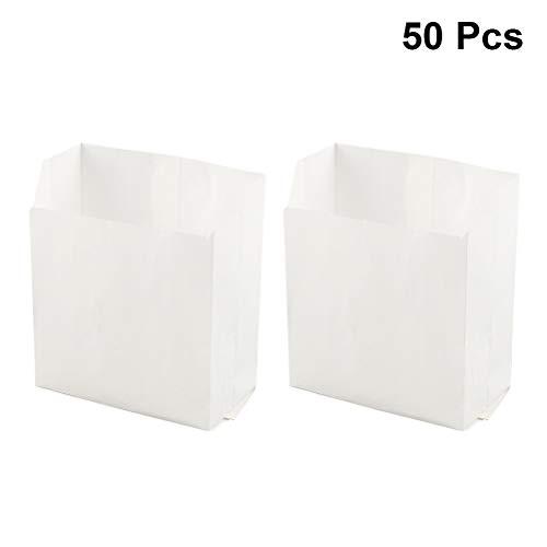 Amosfun Einweg Lebensmittel Papiertüten Fettdicht Mitnehmerbeutel Snack Taschen Brot Taschen Verpackungsbeutel 50 Teile/Satz (Weiß)