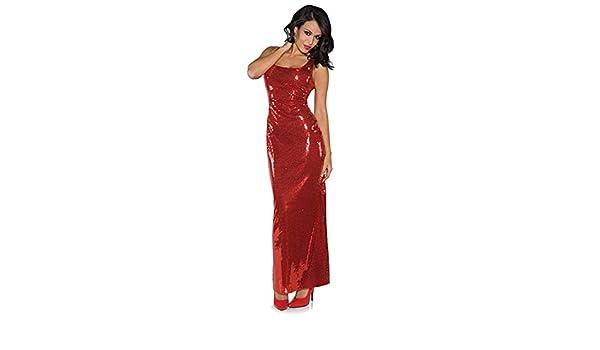 bbb886f1a003 Horror-Shop Vestito lungo con paillettes rosso lungo S  Amazon.it  Giochi e  giocattoli