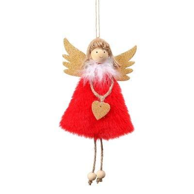 AQZMEA Weihnachtsdekorationen Anhänger Weihnachten Süße Liebe Plüsch Feder Engel Weihnachtsbaum Kreative Anhänger 17x10cm Rot Plus Liebe Engel Anhänger