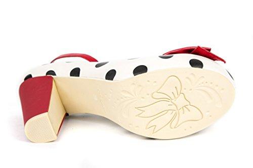 Lola Ramona Damen Pumps Vintage Schuhe Riemchenpumps weiß rot gepunktet Gr. 38 -
