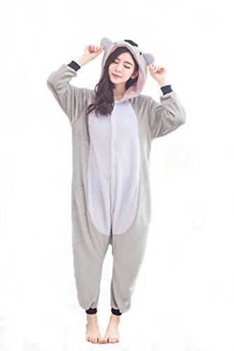 Unisex Adult Kigurumi Grau Koala Tier Cosplay Neuheit Homewear Onesies Nachtwäsche erwachsene Karikatur Karneval Weihnachten Halloween-Kostüm