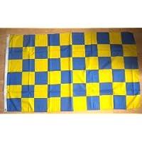 blu e giallo A scacchi Bandiera Grande - 5' x 7.6cm