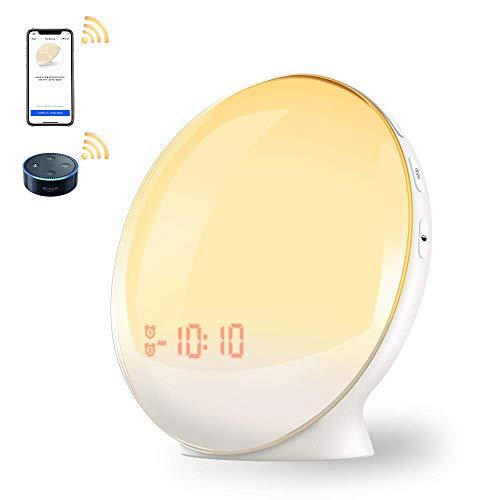 Lichtwecker,Wake Up Licht, Wecker Mit Sonnenaufgangssimulation Simulation Wecker Digitaler LED Weecker Doppelwecker mit 7 Farben und Radiowecker für Schlafzimmer APP Intelligent