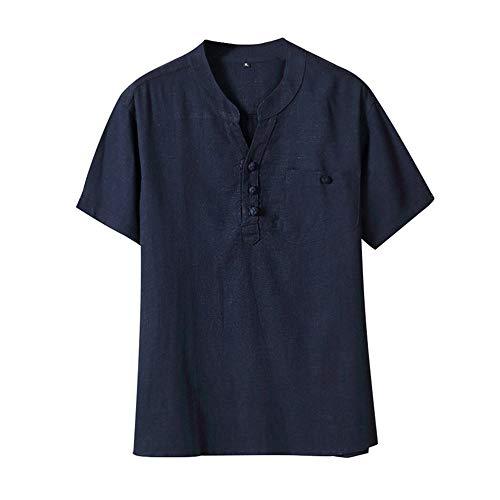 Beonzale Herren Sommer Casual Ethnischen Stil Baumwolle Leinen Kurzarm mit Polokragen Reine Farbe Kurzarm T-Shirts Tops